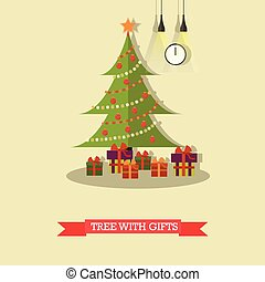 Vector illustration of christmas tree with gifts in flat style