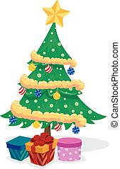 Christmas Tree with Presents - Vector Illustration of...
