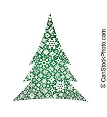 Vector illustration of Christmas tree with snowflakes.