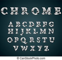 chrome 3D alphabet. - Vector illustration of chrome 3D...