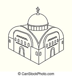 Vector illustration of church and orthodox logo. Collection of church and chapel vector icon for stock.