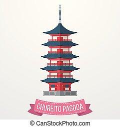 Chureito Pagoda icon on white background