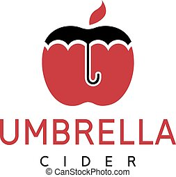 vector illustration of cider with apple and umbrella