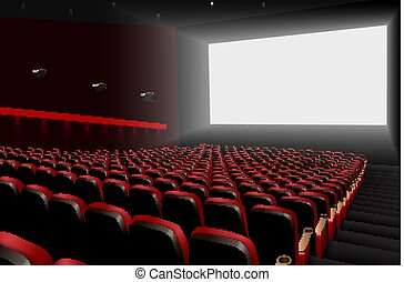 Cinema auditorium with red seats and white blank screen