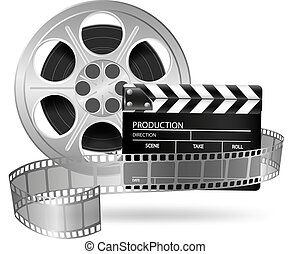 Vector illustration of Cinema clap and film reel isolated on white