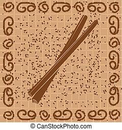 Vector illustration of cinnamon sticks over canvas ...