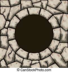 Circle frame with stone seamless pattern - Vector...