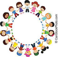 vector illustration of Circle of happy children different races