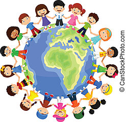 Circle of happy children different - vector illustration of...