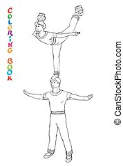 Vector illustration of circus acrobats. Coloring book for...