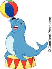 Circus seal playing a ball