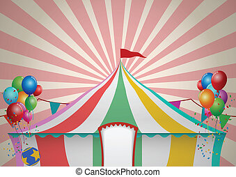Vector Illustration Of Circus Tent Celebration