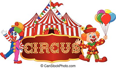 Circus tent with clown. isolated
