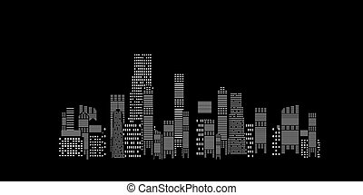 vector illustration of cities silhouette on black background