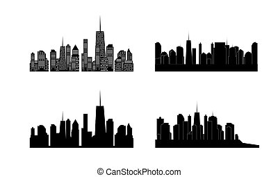 Vector illustration of cities silhouette. Set. EPS 10.