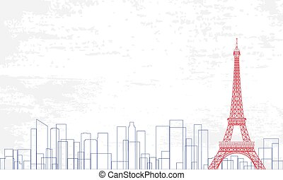 Vector Illustration of city in a line style with blue and red color on white grunge background.