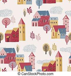 Vector illustration of city in the rain. Autumn mood. Seamless pattern.