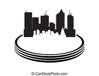 Vector illustration of city on white background