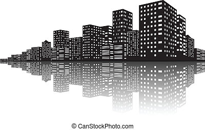 City Skyline Night scenes - Vector Illustration Of City...