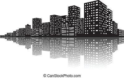 Vector Illustration Of City Skyline Night scenes
