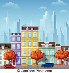 City street with urban buildings