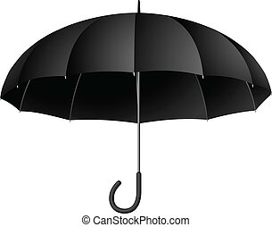 Vector illustration of classic black umbrella isolated on...