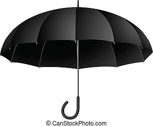 Vector illustration of classic black umbrella isolated on white background.
