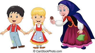 Vector illustration of Classic children story Hansel and Gretel with a witch isolated on white background