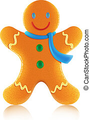 Vector illustration of classic christmas gingerbread man cookie