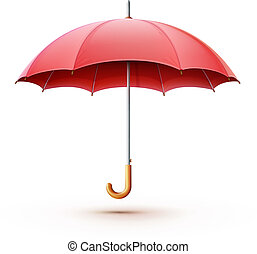 red umbrella - Vector illustration of classic elegant opened...
