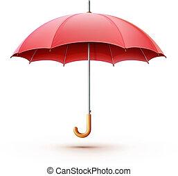 red umbrella - Vector illustration of classic elegant opened...