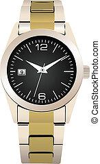 Vector illustration of classic steel wristwatch