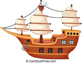 classical pirate yacht cartoon