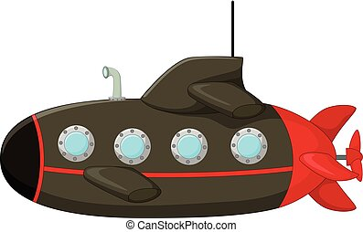 classical submarine cartoon - vector illustration of...