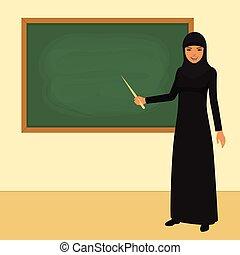 arab teacher in front of board