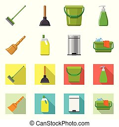 Vector illustration of cleaning and service logo. Collection of cleaning and household vector icon for stock.