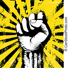 Vector illustration of clenched fist held high in protest on the yellow grunge urban background