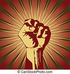 protest - Vector illustration of clenched fist held high in...