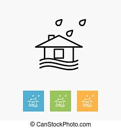 Vector Illustration Of Climate Symbol On Building Outline....