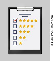Vector Illustration of Clipboard with Rating or Evaluation Form