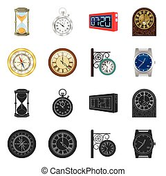 Vector illustration of clock and time icon. Set of clock and circle stock symbol for web.