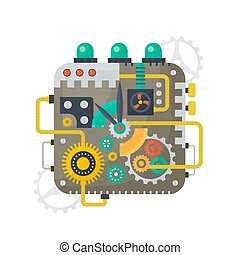 Vector illustration of clock face of watches vintage cogs, gears and scales inside. Technology concept.