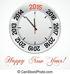Vector  illustration of clock , red arrow specifies in a 2015 NEW YEAR,  for Your successful business design or presentation