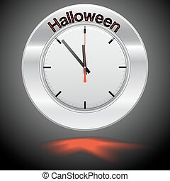 Vector  illustration of clock , red arrow specifies in a word Halloween,  for Your successful business design or presentation