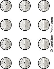 Vector illustration of clock set 24 hours on white background, isolate background.