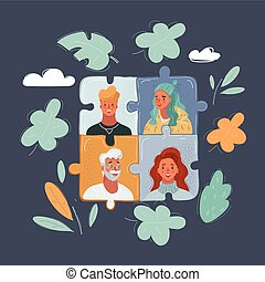 Vector illustration of Closeup of people face on puzzle pieces put together on dark background.