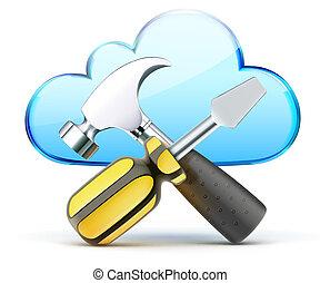 configuration concept - Vector illustration of cloud server...