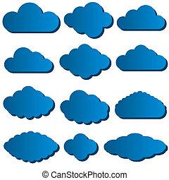 Vector illustration of cloud set