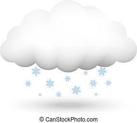 cloud with snowflakes - Vector illustration of cloud with...