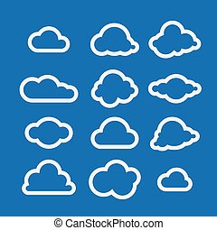 Vector illustration of clouds collection.